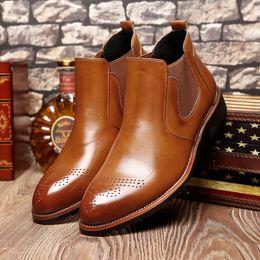 botas de invierno para hombres Rebajas Misalwa Casual Oxford Style Men Chelsea Boots Primavera Otoño Invierno Moda Botines para hombre vestido formal Shoess Shoes 37-44