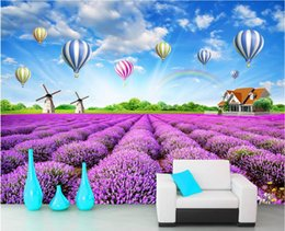 3d natur tapeten Rabatt WDBH 3d wallpaper benutzerdefinierte foto Lavendel pastoralen natur landschaft heißluftballon raum wohnkultur 3d wandbilder wallpaper für wände 3 d