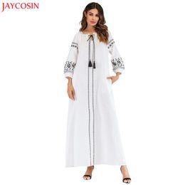 Canada JAYCOSIN Musulman Femmes Imprimé Velours Robe Islamique Abaya Jilbab Cocktail Longue Maxi Robe Complète Musulman Blanc Vente Chaude z0412 Offre
