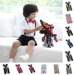 Pantalon ceinture bébé en Ligne-KIDS Bow Tie Bretelles Set Gentleman Ceinture Jacquard Bébé Pantalon Accessoires enfant Jarretelle 23 couleur KKA6524