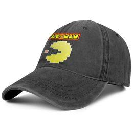 Cappello da lavare online-Pac-Man logo eat black mens and womens Denim hat wash cappelli da pesca stili montati pesca Ricamato papà cappelli