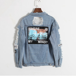 patch bomber women Coupons - Jocoo Jolee Korean Version Retro Washing Frayed Embroidery Letter Patch Bomber Jacket Blue Ripped Distressed Denim Coat Female