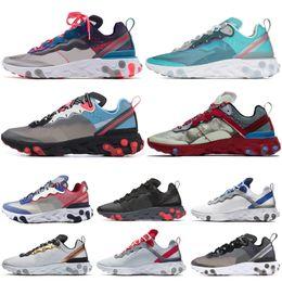 luzes vermelhas solares Desconto Nike react element 55 87 Designer Reagir Elemento 55 87 Undercover Men Women running shoes Luz Bege RED ORBIT Solar Vermelho Metálico Ouro Mens sneakers