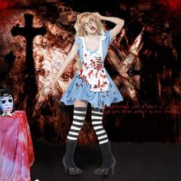 Uniforme de enfermeras de halloween online-Fantasma novia prisionero disfraz adultos de Halloween parejas ropa terrorista con sangre mujer enfermera / hombres cirujanos uniformes ropa