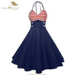 Swing americano online-SISHION Vintage Retro Pin Up Dress VD1078 Dark Blue Women Halter Sleeveless Sexy American Flag Pattern Stampa Swing Summer Dress