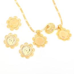 2019 bagues pièce d'or pour les femmes Nouvelle pièce éthiopienne ensembles bijoux pendentif collier boucles d'oreilles bague couleur or cadeau de mariage de mariée africaine pour les femmes promotion bagues pièce d'or pour les femmes