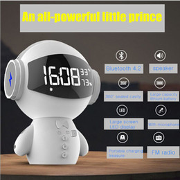 2019 robot caliente Hot new clock Bluetooth speaker Robot portátil 2 generaciones multifunción cargando tesoro K canción despertador mini micrófono audio rebajas robot caliente