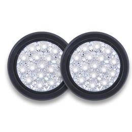 Luces traseras claras online-2 piezas de la cola blanca luces redondas lente clara de respaldo Lámparas inversa 16-LED 12V 24V para el carro de RV remolques