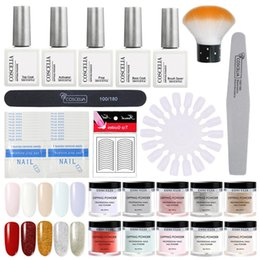 COSCELIA Dipping Powder Full Set Acrylic Nail Kit For Manicure Set Tools For Manicure Gel Varnish All Nail cheap full gel nails от Поставщики полные гелевые ногти