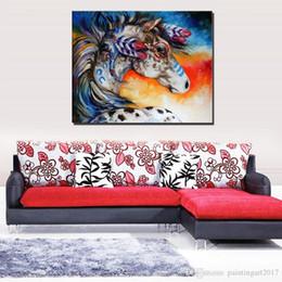 2020 animais cor pintura a óleo Arte decorativa Handmade Animal cor cavalo Pintura A Óleo Sobre Tela Sala de estar Decoração de Casa Pinturas de Parede Animal Pictures arte Da Lona desconto animais cor pintura a óleo