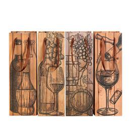 Argentina Bolsa de botella de vino tinto cuadrada Marrón Resuable Bolsas de almacenamiento de papel con cuerda de elevación Espesar Bolsa de asas Venta caliente 1zs B cheap red tote bag sale Suministro
