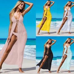 Vestido de uma peça de praia wrap on-line-Verão One Piece Womens Bikini Cover Up Swimwear Praia Envoltório Saia Sarong Kimono Kaftan Vestido de Praia Maiô Chiffon Sexy