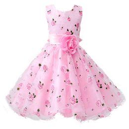Deutschland Neue Mädchen Baumwolle Sleeveless Princess Dress mit Blume für Kinder Kleidung Kinder Hochzeit Geburtstag Kleider (Blumen können demontiert werden) Versorgung