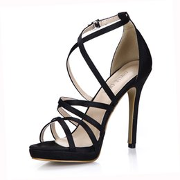 Canada Ivoire Satin Sexy Mariée Femmes Chaussures Stiletto À Talons Hauts Gladiator Rome Ankle Strap Sandales Zapatos Mujer 0640A-4d cheap ivory high heels shoes Offre