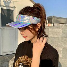 angepasste hüte Rabatt Minimalist Unisex Kunstleder Leer Top Baseballmütze Metallic Rave Hologram Reflective Hip-Hop-Weitsonnenblende Hut Angepasst Krempe