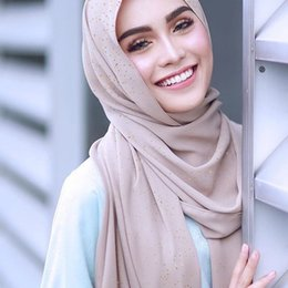 Frete grátis malásia on-line-2019 moda novas senhoras doce cor chiffon Malásia lenço Muçulmano Baotou multi-função lantejoulas xale cachecol frete grátis
