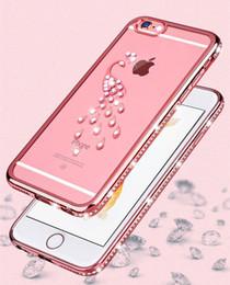 Capa de telefone strass peacock on-line-Galvanoplastia strass tpu phone case para iphone 5 se x 8 7 6 6 s plus case diamante pavão cisne shell caso capa transparente