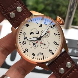 Reloj portugal online-Portugal Calendario Spitfire fighter Relojes deportivos de lujo para hombre Reloj automático Caja de acero 316L Correa de cuero genuino hombres relojes F509