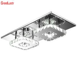2019 techo de madera moderno Lustre cuadrado LED de cristal de techo Luces Luminarias Para la lámpara de techo Sala Plafon Balcón Pasillo Lampara Iluminación