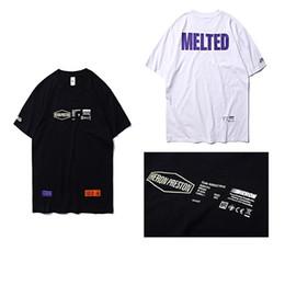 chemises en jersey de coton Promotion Héron Preston MELTED logos imprimés violet, blanc et jaune T-shirts Lettre brodé Patch Jersey de coton Homme Tshirt HP T-shirts Unisexe