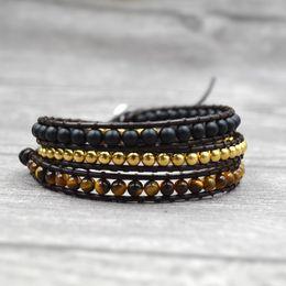 2019 braccialetto in rame tessuto Pietra occhio di tigre con perle di rame Bracciali a 3 fili avvolti a mano Bracciale in pelle di Boemia tessitura per uomo donna sconti braccialetto in rame tessuto