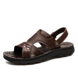 Scarpe piatte usate online-Pantofole Sandali da uomo estivi Due usi Casual Scarpe da spiaggia maschili Ciabatte piatte antiscivolo in vera pelle