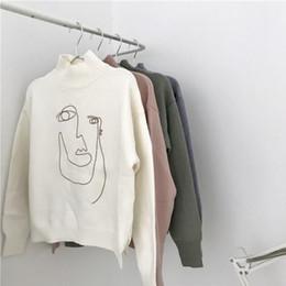 2019 abstrakte linien Abstrakte Linien Gesicht Frauen Vintage Pullover Rollkragen Stickerei lose koreanischen Stil rosa weiß gestrickte Pullover Tops günstig abstrakte linien