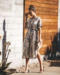 Pantalones cortos de leopardo de las mujeres online-2019 nueva moda primavera verano mujer vestido estampado de leopardo elegante manga larga vestido largo 8342 S-XL 2pcs