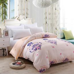 Argentina Lujo Beige rosa flor impresa funda nórdica 1pc algodón edredón cubierta 150 * 200 cm 180 * 220 cm 200 * 230 cm 220 * 240 cm tamaño juegos de cama Suministro