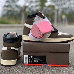 Zapatos de alta moda online-Actualizar Travis Scotti x zapatos de baloncesto 1 High OG TS SP 2019 Suede Fashion Unique Designer Bronze Black para hombre Calzado deportivo