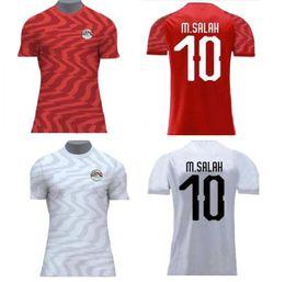 2019 África Copa Egito Camisas de Futebol 19 20 M. SALAH 10 Home Red equipe nacional de KAHRABA homens de manga curta de futebol CAMISA maillot de pé cheap red soccer shorts de Fornecedores de shorts de futebol vermelho