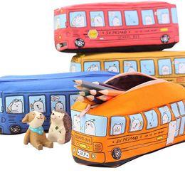 2019 lápis de carro Criativo Saco Da Pena Do Carro Da Lona de Grande Capacidade Pequeno Animal Bus Lápis Caso Estudante Papelaria Presente Para As Crianças desconto lápis de carro