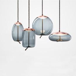 2019 cuisine industrielle moderne Loft moderne lampe industrielle lampe pendante en verre bleu LED art deco lampe blanche nordique pour salon cuisine chambre salon cuisine industrielle moderne pas cher