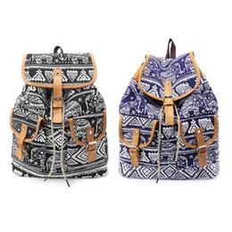 2019 mochilas de chicas elefantes Vintage mujeres lienzo lazo mochila elefante impresión niñas moda casual escuela de viajes mochila mochila bolsa de hombro nuevo rebajas mochilas de chicas elefantes