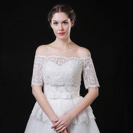 JaneVini невесты свадебная куртка женщины свадебное пальто кружева болеро для невесты свадебное платье с плеча кружева-Up назад короткие рукава накидки болеро от