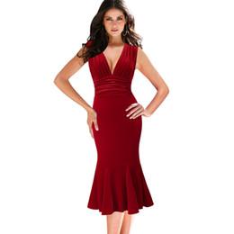 c5f6d2dda6a red velvet midi dress Coupons - Vfemage Womens Sexy Deep V Neck Ruched  Velvet Cocktail Club