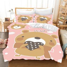 Couette reine lapin en Ligne-3D beaux ours lapins ensemble housse de couette Literie douce de haute qualité Beding Taie d'oreiller Reine Twin animaux série 2