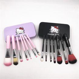 olá kitty caixas de presente Desconto 7 pcs olá kitty pincéis de maquiagem set com ferro mini box profissional escovas faciais preto / rosa mulheres meninas presentes