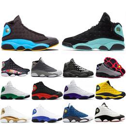 Air JORDAN 13 Réplica Piel de pez perla AJ13 Gato negro Zapatillas de baloncesto deportivas ocasionales deportivas negras y verdes para hombres