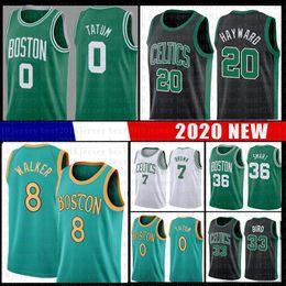 2019 camisetas de baloncesto marrón Kemba Walker 8 Boston Baloncesto Jersey celta Larry Bird 33 Jayson 0 Tatum Jaylen 7 Brown 20 Hayward Marcus 36 inteligente NCAA Jerseys camisetas de baloncesto marrón baratos