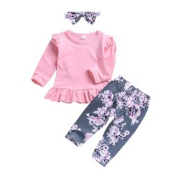 toddler girl christmas shirts Promo Codes - Toddler Baby Girls Ruffle O-neck Solid Pink T-Shirt Tops + Floral Long Pants Leggings + Headband 3Pcs Outfit Clothes Outfit Set