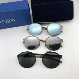 espejo redondo enmarcado Rebajas Nuevas gafas de sol mykita con montura ultraligera sin tornillos MKT CROSBY montura con solapa de montura redonda para hombre gafas de sol de diseñador que cubren la lente del espejo