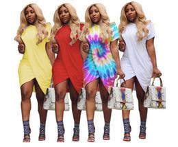 2019 vestido corto de cuero sexy más tamaño Tallas grandes Vestido de verano para mujer Irregular Bata dividida Club Sexy Túnica de manga corta Negro Blanco Amarillo Fiesta Camiseta Vestidos