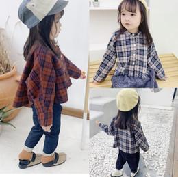 Chaqueta de otoño de estilo británico para niños en la camisa holgada a cuadros para niños, las niñas usan camisa femenina de manga larga desde fabricantes