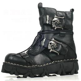 Sapatos uniformes on-line-Botas Hot venda- Moda couro do couro genuíno botas uniforme militar gótico do crânio Punk Martin Platform meio da perna Steampunk Shoes 18D50