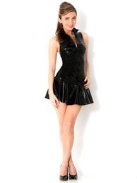 Engayi Marca Donna Faux Leather Latex Dress Porno Costumi Caldi Biancheria Intima Sexy Lingerie Club Wear Erotic Baby Dolls X639 J190613 da bambole di lattice fornitori