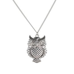 Lindo collar de cadena larga online-Nuevo Owl Necklace Fashion Jewelry Vintage Hollow Cute Owl Colgante Collar Retro Hollow Tallado Suéter Cadena Para Mujeres Collares Largos