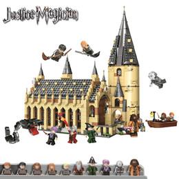 Regalos de los pasillos online-938 unids Serices Hogwarts Great Hall Compatibilidad Legoing Harry Pott 75954 Bloques de construcción Juguetes Ladrillos 2019 regalo de Navidad