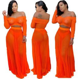 Vestidos de lã de manga comprida on-line-Women Summer off shoulder Dress set Sexy See Through Two Pieces Orange Strapless Long Sleeve Loose tops tee long skirt suit 3sets LJJA2830