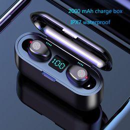 perlenkette kopfhörer Rabatt Drahtloser Kopfhörer Bluetooth V5.0 F9 TWS Drahtloser Bluetooth Kopfhörer LED-Anzeige mit 2000mAh Energienbank-Kopfhörer mit Mikrofon Freier DHL